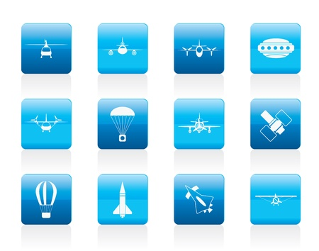 different types of Aircraft Illustrations and icons - icon set 2 Vector