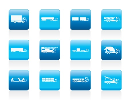 tanker type: different types of trucks and lorries icons - icon set Illustration