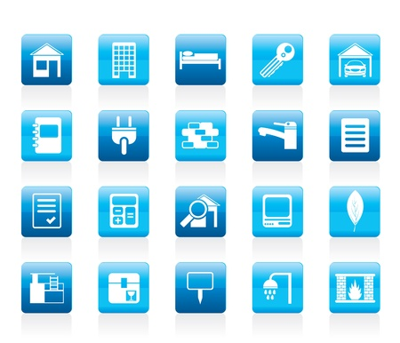 hotel pool: Real Estate and building icons - Icon Set Illustration