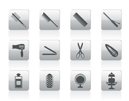 hairdressing, coiffure and make-up icons  - icon set Vector