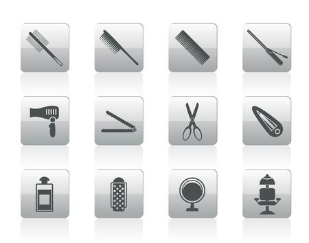 coiffure, la coiffure et le maquillage icônes - jeu d'icônes