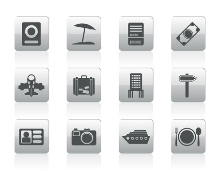 travel, trip and holiday icons - icon set Vector