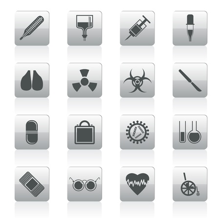 collection of  medical themed icons and warning-signs icon set Stock Vector - 12201589