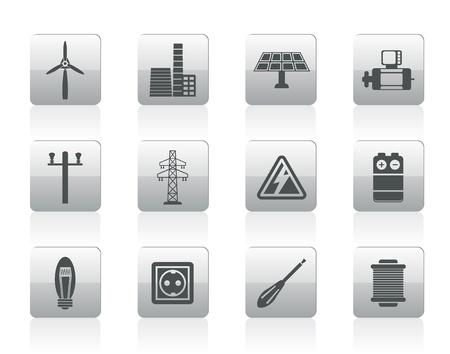 turbina de vapor: Electricidad y la energía iconos - conjunto de iconos Vectores