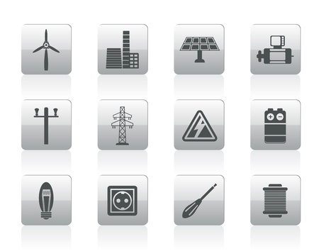 atomic energy: Electricity and power icons - icon set