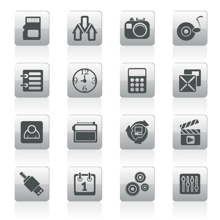 polyphony: phone  performance, internet and office icons - vector icon set Illustration