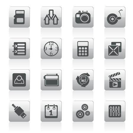 clock radio: phone  performance, internet and office icons - vector icon set Illustration