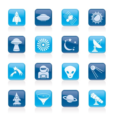 astronautics, space and universe icons - icon set Vector