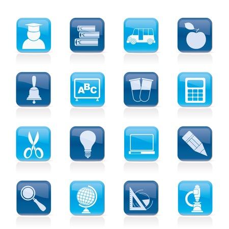 rekenmachine: onderwijs en de school iconen - icon set Stock Illustratie
