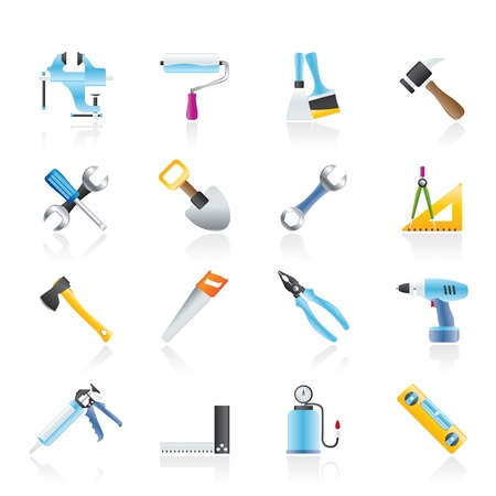 building site: Building and Construction work tool icons - icon set