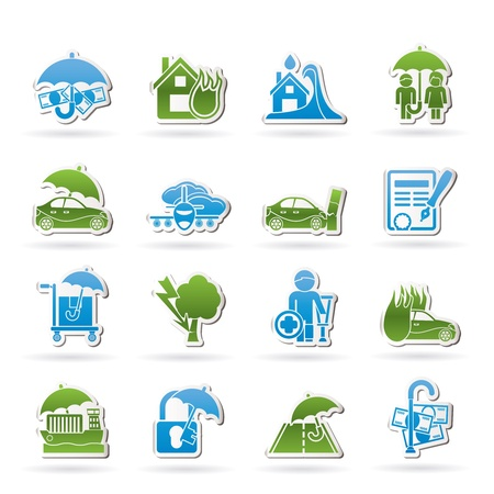 family policy: and risk icons - icon set