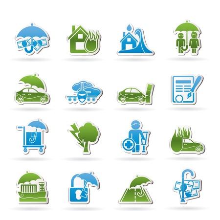 pensioen: en risico iconen - icon set Stock Illustratie