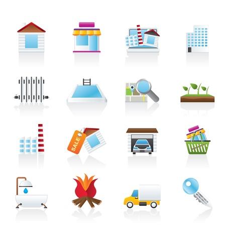 swimming pool home: Real Estate and building icons - Icon Set Illustration
