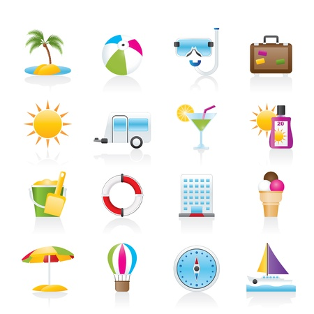 Vacation and holiday icons - icon set Vector