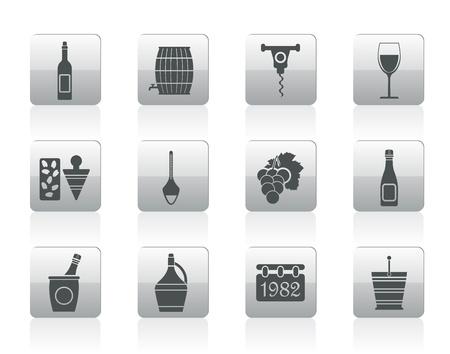 demijohn: Wine Icons - Vector Icon Set
