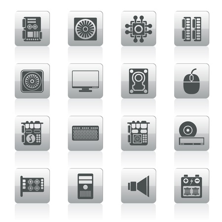 floppy: Computer  performance and equipment icons - vector icon set