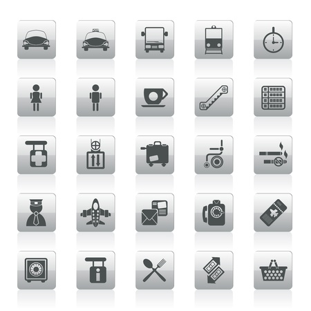 train ticket: Airport, travel and transportation icons -  vector icon set