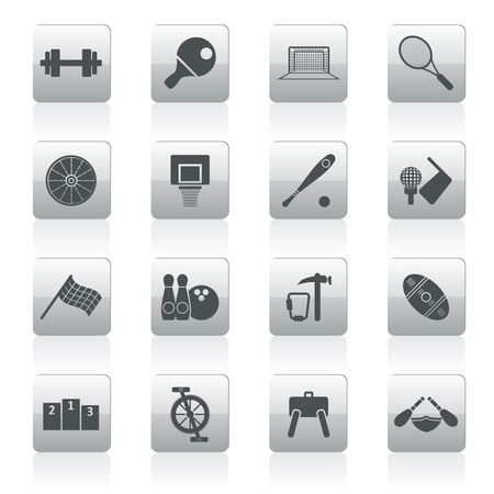 rugger: Sports gear and tools - vector icon set  Illustration