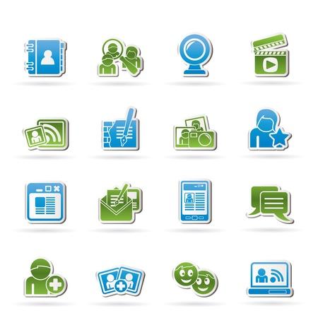 social networking: icone sociali networking e di comunicazione - set di icone vector