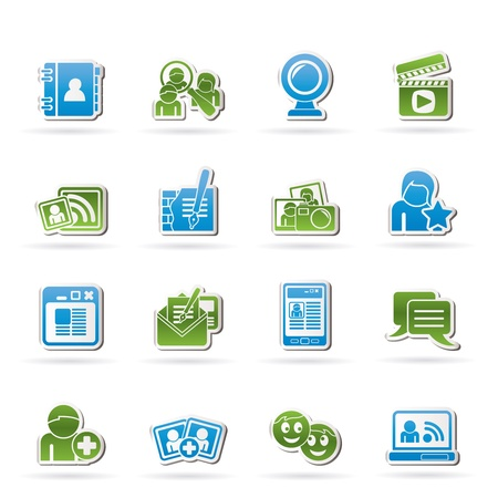 address book: social networking and communication icons - vector icon set Illustration