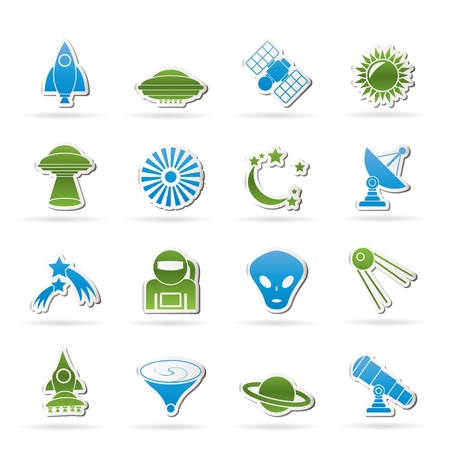 kidnapping: astronautics, space and universe icons - vector icon set