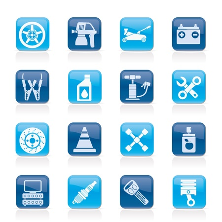 Transportation and car repair icons - vector icon set Stock Vector - 12481158