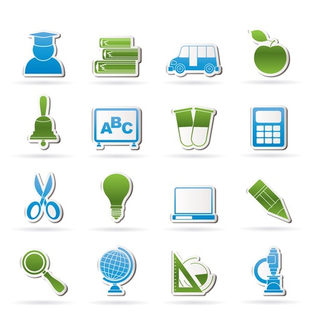 menu buttons: education and school icons - vector icon set