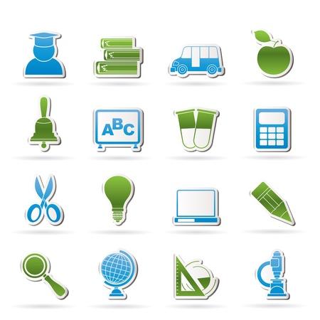 triangle button: la educaci�n y la escuela de iconos - conjunto de icono de vector Vectores