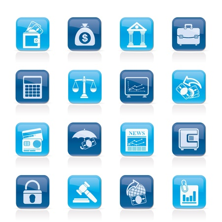 bank building: Business, finance and bank icons - vector icon set Illustration