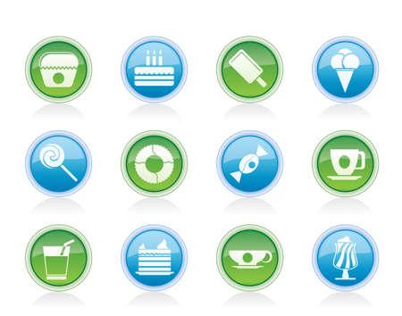 sweetmeats: Alimentos dulces y confiter�a iconos - conjunto de icono de vector