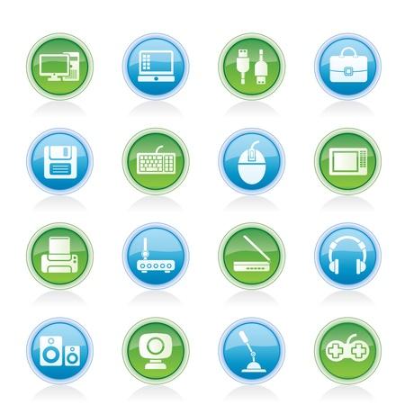 periferia: Apparecchiature informatiche e periferiche icone - set di icone vettoriali