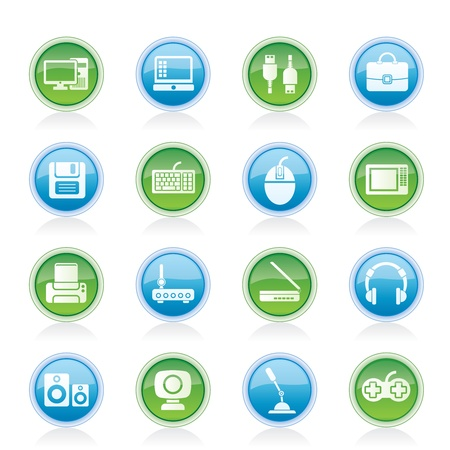 Computer equipment and periphery icons - vector icon set Vector