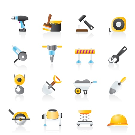 building construction site: building and construction icons - vector icon set Illustration