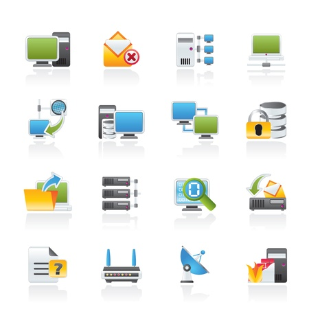 network server: Computer Network and internet icons - vector icon set