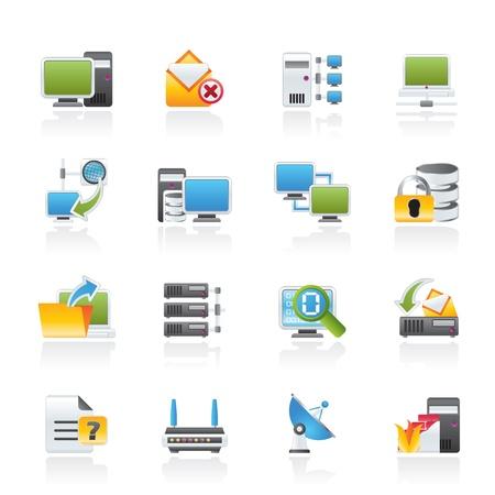 red informatica: Redes Informáticas e Internet iconos - conjunto de icono de vector