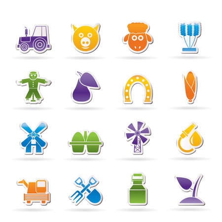 fruit eater: Agriculture and farming icons - vector icon set