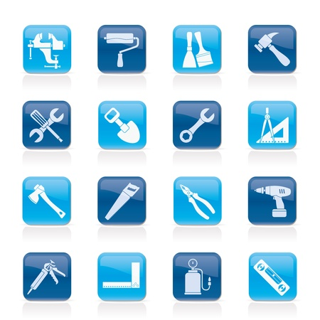 building construction site: Building and Construction work tool icons - vector icon set