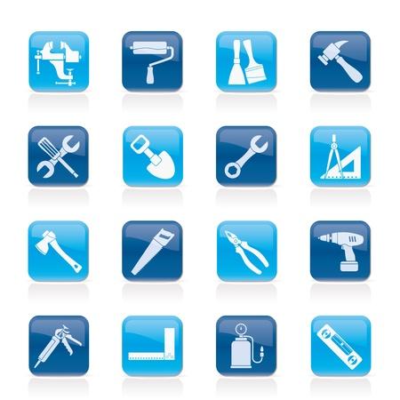 the hammer: Edificaci�n y construcci�n iconos para herramientas de trabajo - conjunto de icono de vector Vectores