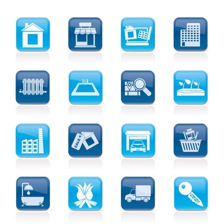 radiador: Inmobiliario y construcción iconos - Vector Set Icon Vectores