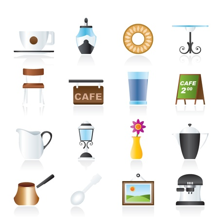 Café and coffeehouse icons - vector icon set