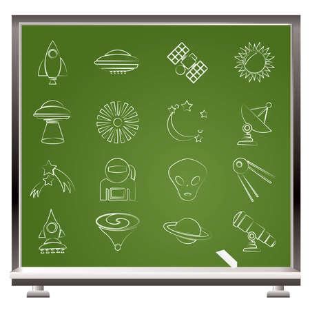 astronautics: astronautics, space and universe icons - vector icon set