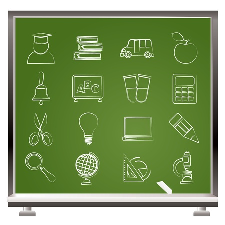education and school icons - vector icon set Stock Vector - 12481371