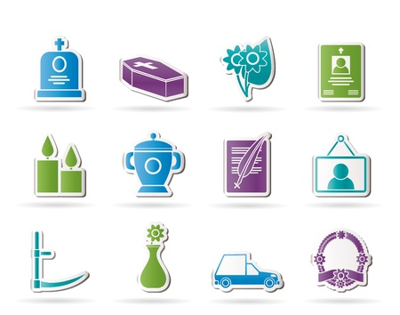 funeral and burial icons - vector icon set Vector