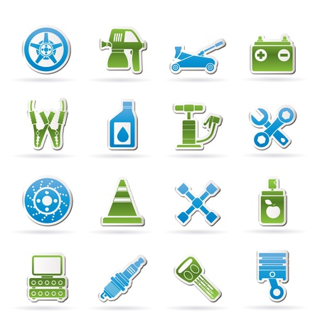 Transportation and car repair icons - vector icon set Vector