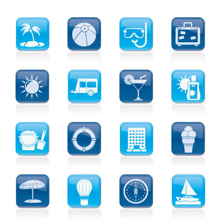 snorkel: Vacation and holiday icons - vector icon set Illustration