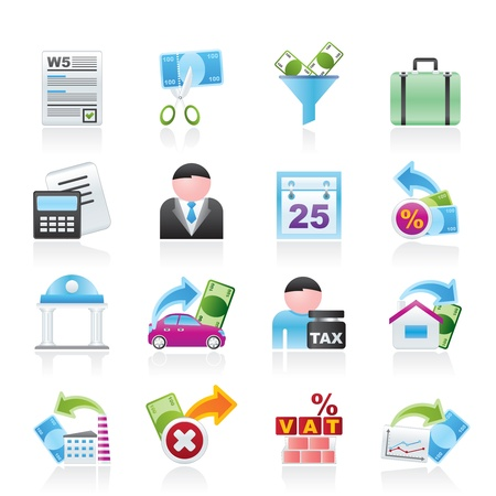 exemptions: Taxes, business and finance icons - vector icon set