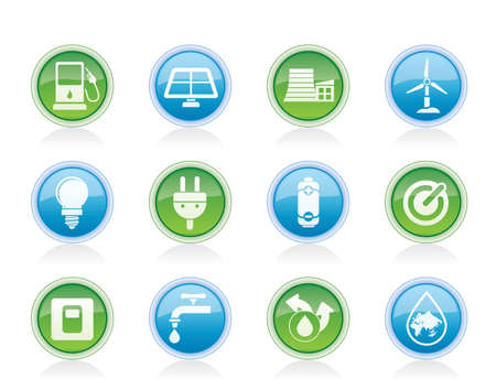 Ecology, power and energy icons - vector icon set Vector