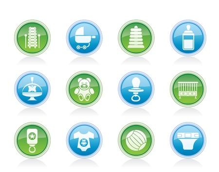 Child, Baby and Baby Online Shop Icons - Vector Icon Set Vector