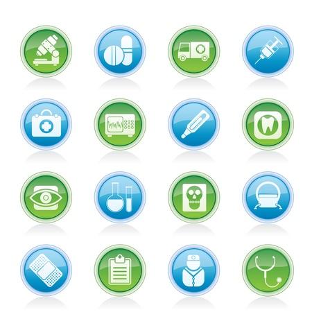медик: медицинские, больницах и учреждениях здравоохранения иконы - вектор икона набор