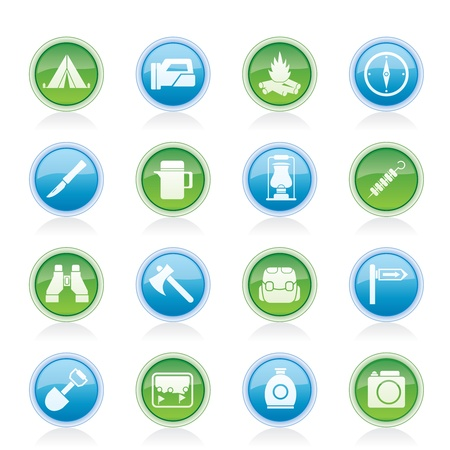 tourism and hiking icons - vector icon set Vector